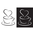 coffee cup with heart symbol vector image vector image