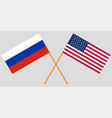 crossed flags united states of america and russia vector image