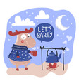 deer party valentine day cartoon animal set vector image vector image