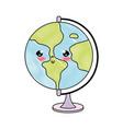 doodle kawaii nice global map desk vector image vector image