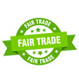 fair trade ribbon fair trade round green sign vector image vector image