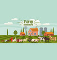 farm animals and birds set in trendy cute style vector image vector image