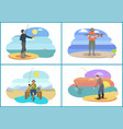 fishing set active people vector image vector image