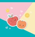 fresh apple and cherry fruits kawaii characters vector image vector image
