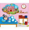 Girl having good dream in bed vector image