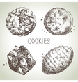 Hand drawn sketch sweet cookies set vector image