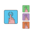 hand finger click icon colored outline cartoon vector image