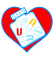 Heart and tablets vector image vector image