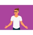 Hipster guy wearing small ponytail vector image vector image