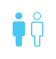 linear and flat man icon simple flat symbol blue vector image