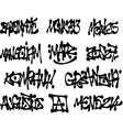 liquid black graffiti tags collection over white vector image vector image