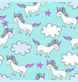 magic cute unicorn background with stars vector image