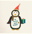 merry christmas cute retro penguin greeting card vector image