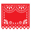 papel picado red floral template design vector image