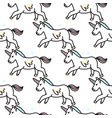 Pattern with cute unicorns cloudsrainbow