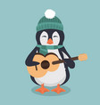 penguin wearing a green hat and scarf with guitar vector image vector image