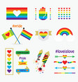 pride rainbow flags icons design elements set vector image vector image