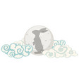 rabbit on chinese moon vector image vector image