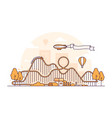 roller coaster - thin line design style vector image vector image