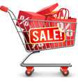 Sale Full Shopping Cart Red Pictogram vector image
