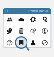 set of 12 editable network icons includes symbols vector image