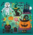 set of cute ghost cat castle scull pumpkin vector image vector image