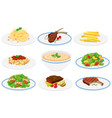set of healthy dishes vector image vector image