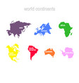 set of monochrome icons with world continents vector image vector image