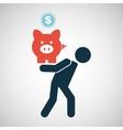 silhouette man financial crisis piggy coin vector image vector image