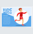 smiling sportive boy running kids land banner vector image vector image