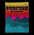 surfing sea california retro vector image vector image