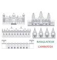Travel landmarks of Cambodia and Bangladesh icons vector image vector image