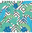 tropical exotic leaves seamless pattern palm tree vector image vector image