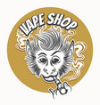 vape shop emblem with vaping ape vector image