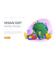 vegan diet and healthy lifestyle landing page vector image