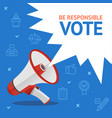 vote concept card with loudspeaker and thin line vector image