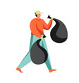 waste collection and street cleaning flat vector image
