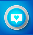white like and heart icon on blue background vector image