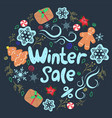 winter sale round frame with gingerbread cookies vector image