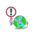 with sign world globe character cartoon vector image