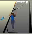 woman climber explorer and flying bird flat vector image vector image