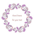 wreath with purple and pink flowers and branches vector image
