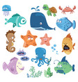 set of cartoon fish collection of funny baby fish vector image