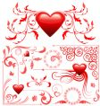 valentines card decoration set vector image