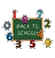 Blackboard surrounded by cartoon numbers vector image