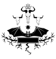 bull skull and bat vector image vector image
