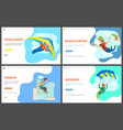 bungee jumping and parkour activity website set vector image vector image