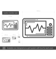 Cardio monitor line icon vector image