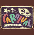 carnival retro tin sign design vector image vector image