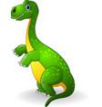 cartoon green dinosaur vector image vector image